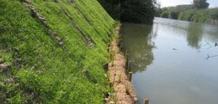 Kokosgewebe på skråning